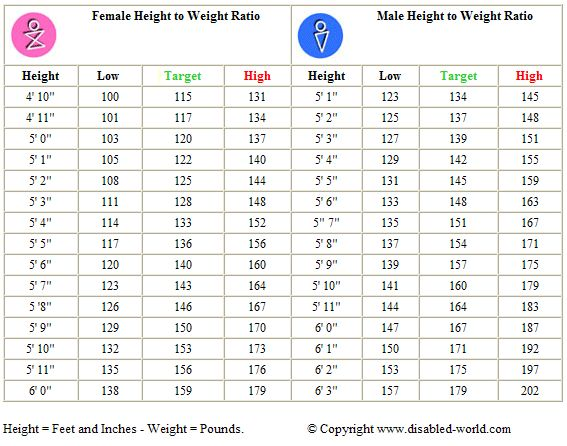 Adult Male And Female Height To Weight Ratio Chart Workout