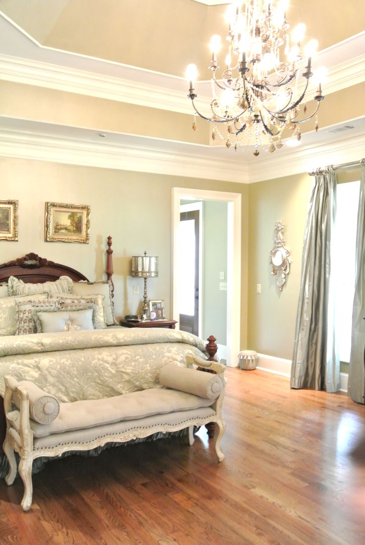 Master Bedroom with tray ceiling- I like the subtle color contrast between  the