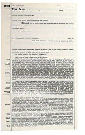 Blumberg New York Commercial Lease Form 35 (85 X 14) Lease