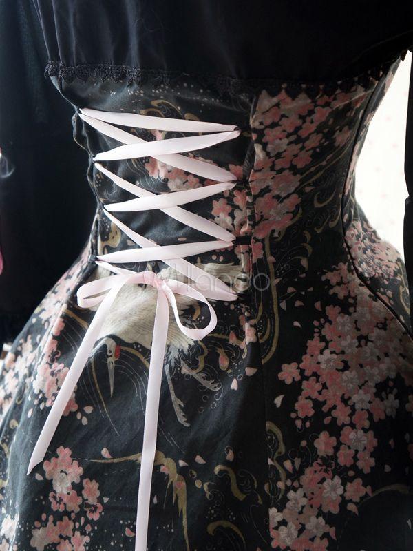 Qipao Sweet Lolita Dress with Crane and Oriental Cherry Blossom Prints