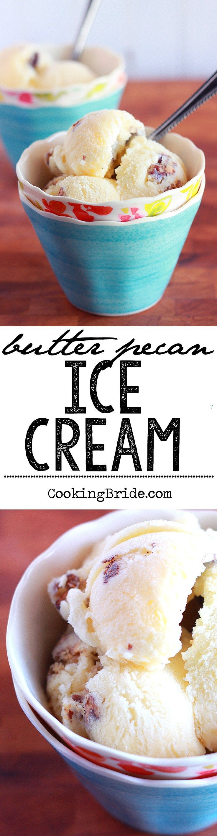 This creamy custard-based recipe for homemade butter pecan ice cream contains toasted, buttered pecans, vanilla, and cream. #Icecream #ButterPecan #Summer #Frozen