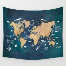 World Map Oceans Life blue Wall Tapestry
