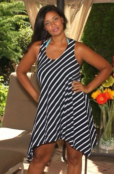 Women's Plus Size Cover Ups - Always For Me Cover Jersey Stripe Dress Style #8951X - Sizes 1X - 3X