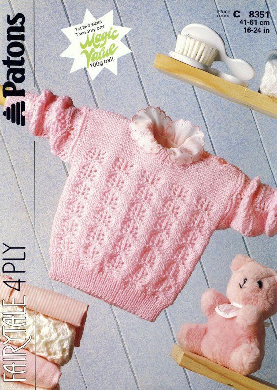 Patons Fairytale 8351 Lacy Sweater PDF by PatternaliaVintage