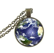 Planet earth jewelry globe necklace glass dome space pendant bronze chain choker galaxy neckless women universe nebula necklace(China (Mainland))