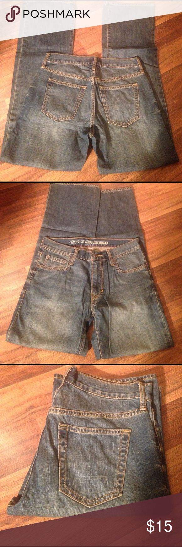 """Old navy 30-34 men's jeans Old Navy famous jeans, boot cut. Size 30-34. Medium vintage. Only worn twice. 10"""" from waist to crotch. Old Navy Jeans Bootcut"""
