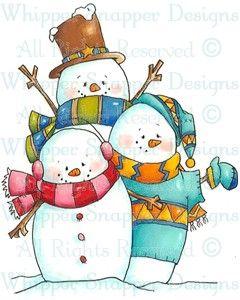 Snowman Gathering - Snowmen Images - Snowmen - Rubber Stamps