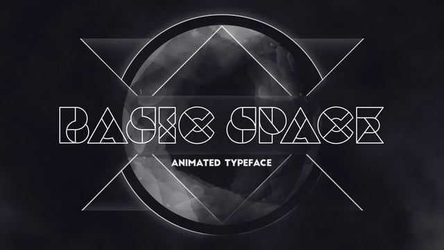 Basic Space is an experimental display typeface with geometric elements. Well suited for all kinds of sci-fi or modernist titles. The typeface is uppercase only and features numbers and some basic punctuation. A controller allows you to change the color and line width to your liking.  Design & animation: Niels van de Spijker  Available as Adobe After Effects file at http://animography.net/