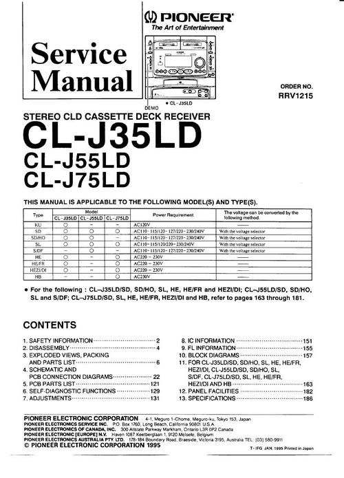 Pioneer CL-J35LD , CL-J55LD , CL-J75LD Laser Disc Service Manual * PDF format suitable for DOWNLOAD