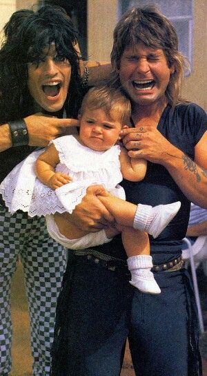 Funny pic of Ozzy Osbourne with his daughter Aimee and Tommy Lee.