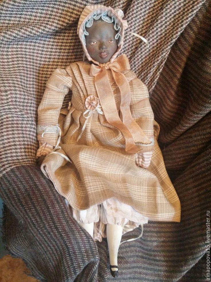 Купить Интерьерно-игровая куколка-болтушка Агата - комбинированный, негритянка, кукла ручной работы