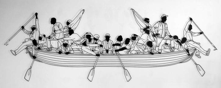 people paddling a boat,making of, welding, welding art by frank plant