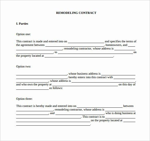 Home Remodeling Contract Template Awesome Remodeling Contract Template 9 Download Free Documents Contract Template Contract Free Word Document