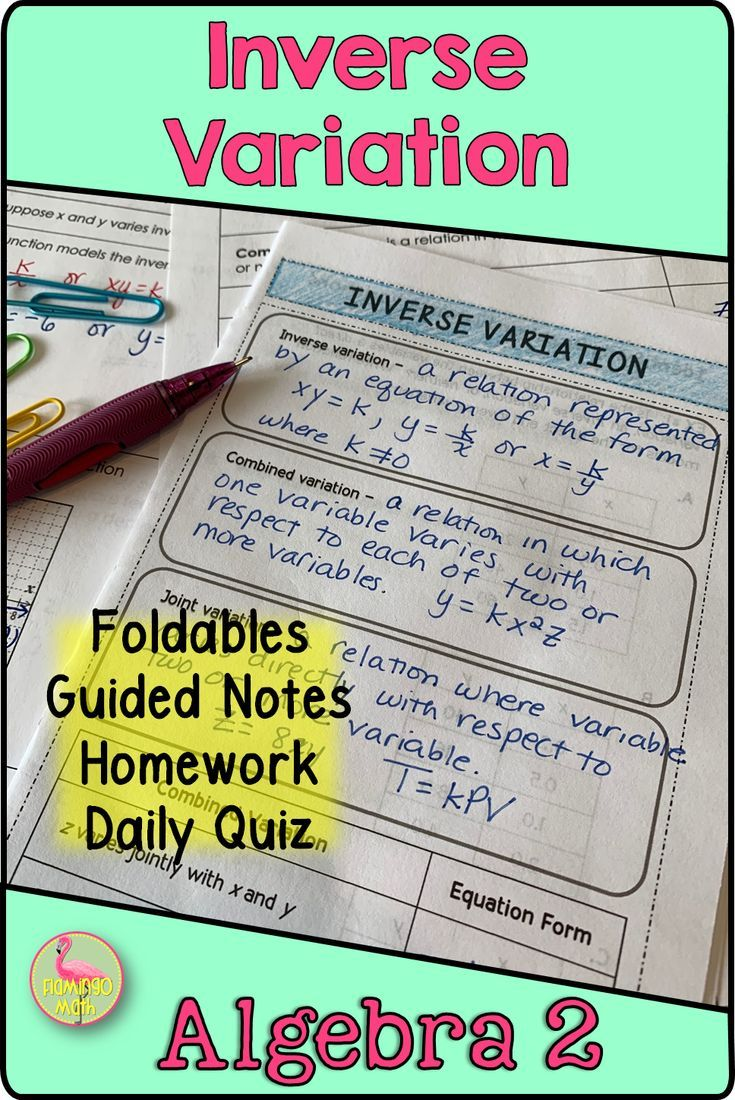 Inverse Variation Algebra 2 Unit 8 Algebra Guided Notes