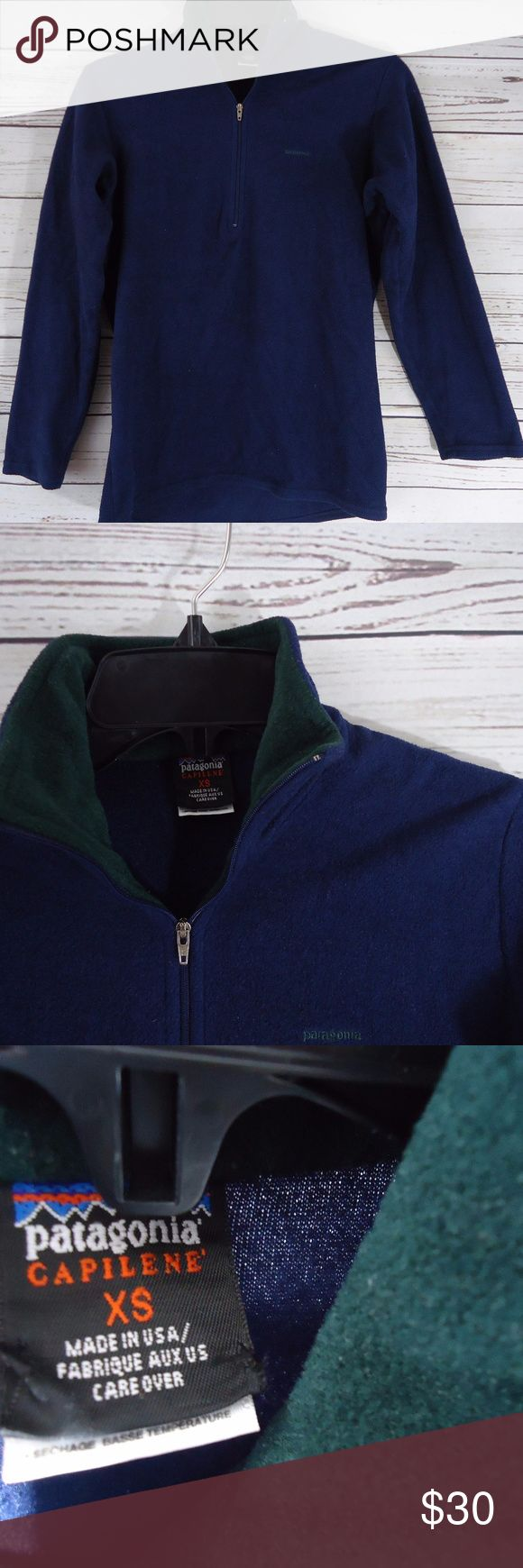 Patagonia Capilene Pullover Half Zip Fleece Cozy Patagonia Capilene Pullover Half Zip Fleece Size XS  Navy Blue & Green Patagonia Sweaters
