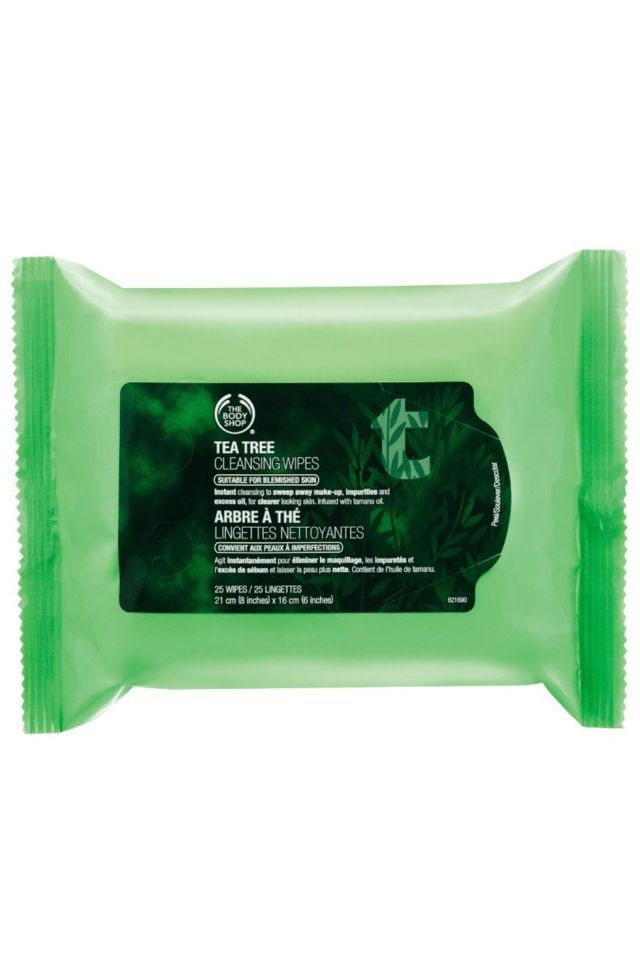 FOR THE I'M-SO-HOT (LITERALLY) LAZY GIRL: THE BODY SHOP TEA TREE CLEANSING WIPES: One swipe of these bad boys, and your skin will be feeling cool, hydrated, and refreshed. The tea tree oil also combats oil and shine, to boot.