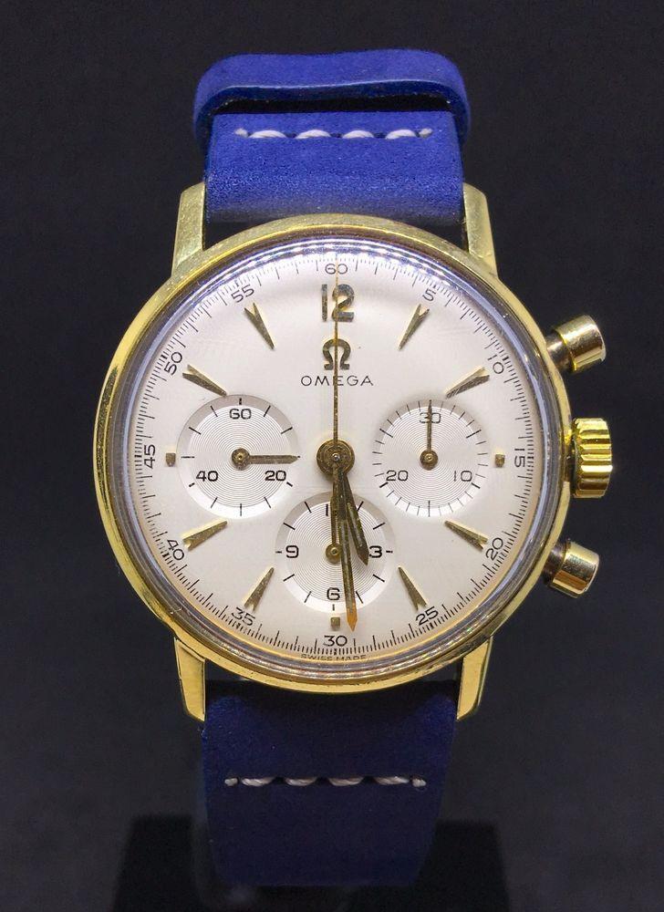 Rare Vintage watch OMEGA GENEVE 861 chronograph box yellow solid gold 18k 1969    eBay