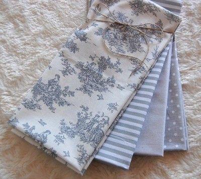 Kup teraz na allegro.pl za 23,00 zł - ZESTAW TKANIN BAWEŁNA - patchwork w szarościach  Patchwork fat quarters grey vintage