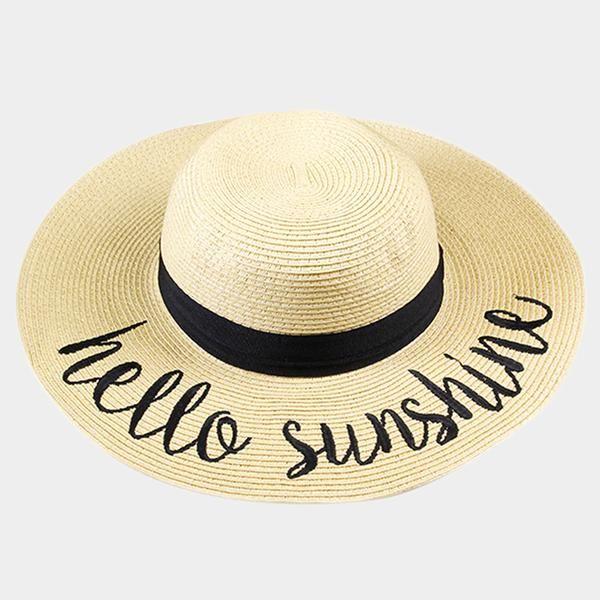 Amtal Women Elegant Wide Brim Embroidered Beach Pool Floppy Summer Vacation  Sun Hat (Hello Sunshine) - Girl N Glam 1f30a55dde0