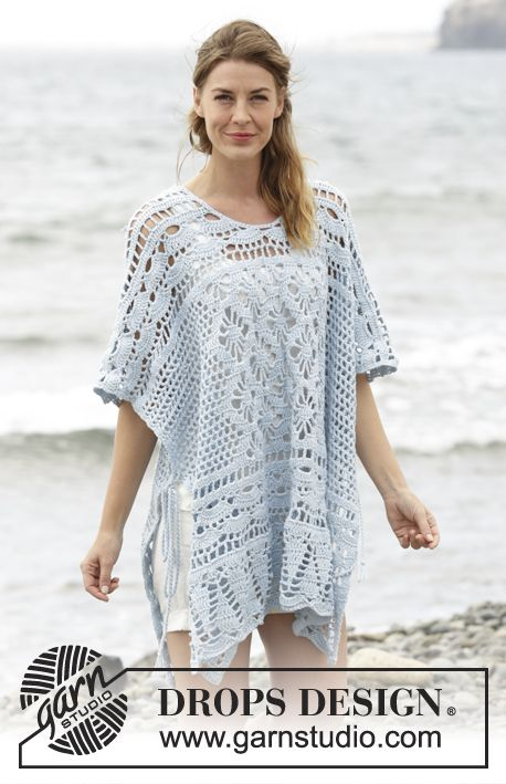 "Graceful Mermaid - Poncho DROPS en ganchillo con patrón de calados, trabajado de arriba para abajo, en ""Cotton Merino"". Talla: S – XXXL. - Free pattern by DROPS Design"