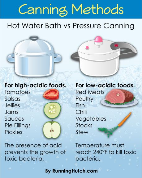 AWESOME CHART!! Hot water bath vs pressure canning. Read more: http://runninghutch.com/the-main-course/canning-class-adventure/ #canning