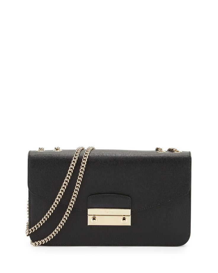 Furla Julia Small Leather Pochette Bag, Onyx (Black)