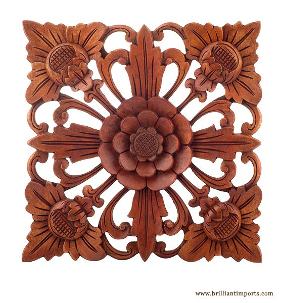 Traditional Carved Wooden Wall Décor, Large Square | Enhance your room with a little flower power. Waru wood. Traditional stain. Large; $65.00