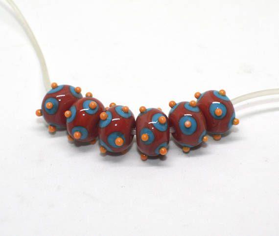 Set 6 Rondelle Beads 12 mm Coral Blue Turquoise Orange