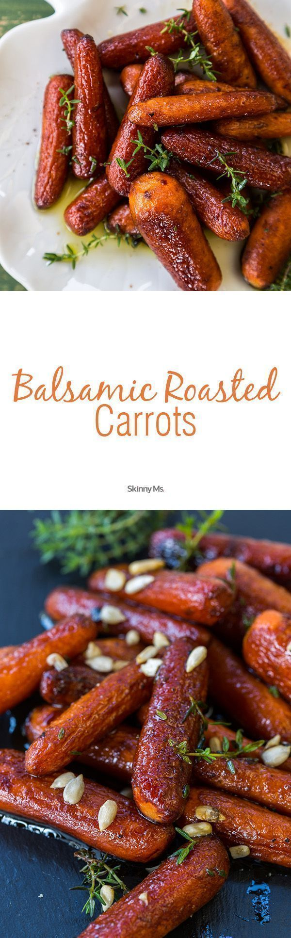 These Balsamic Roasted Carrots are so deliciously rich and the perfect Thanksgiving side dish.