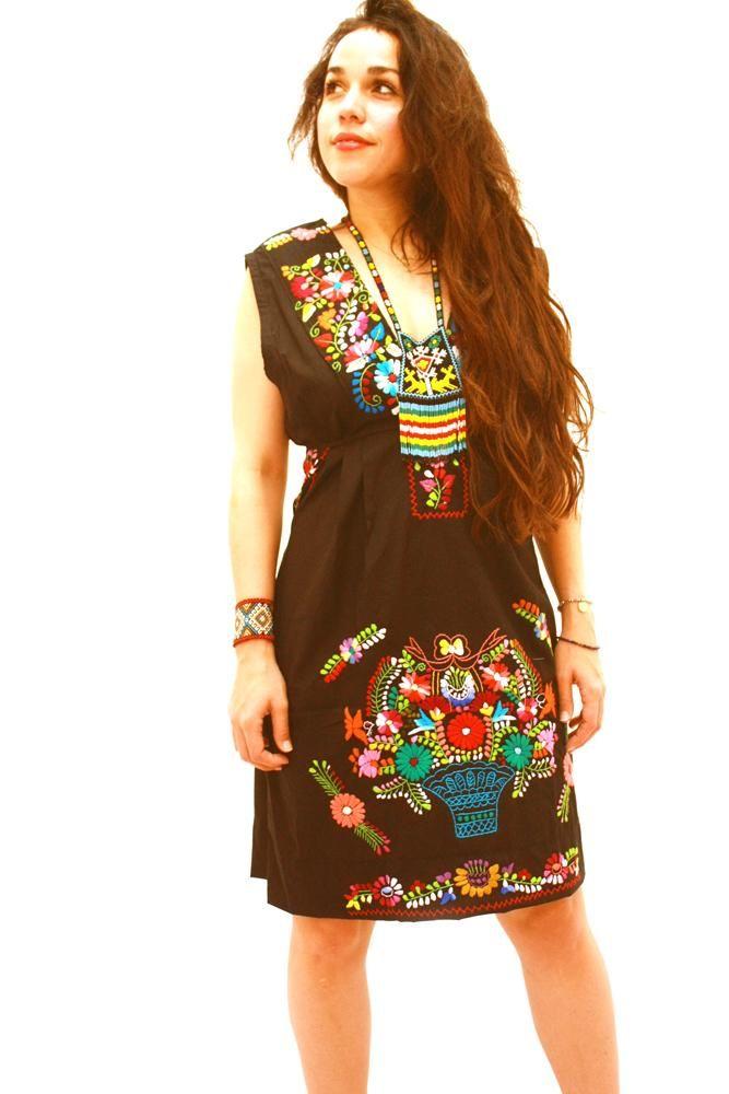 Mexican Dress Black Vintage Floral V Neck by Aida Coronado ...