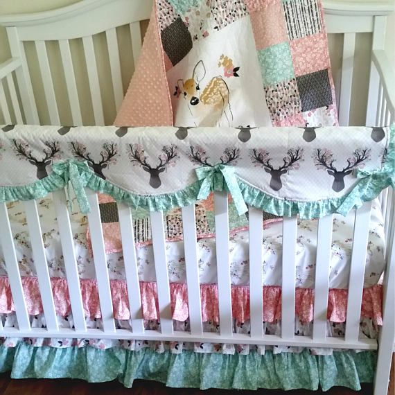 Fawn in Tulip Woodland Crib Bedding Set Girl Patchwork Baby