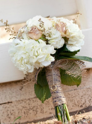 Burlap ribbon wrap. Like the ring attached.
