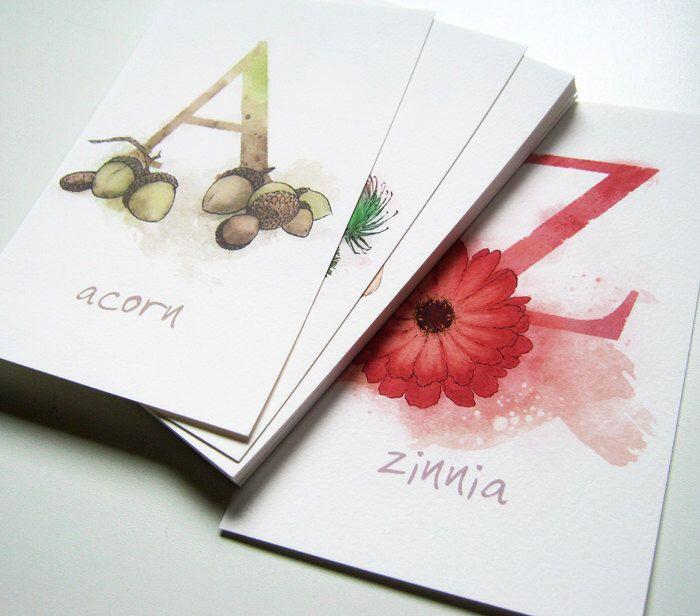 Nature Theme Alphabet Cards, Archival Prints, Nursery, Children by LaPetiteMascarade on Etsy https://www.etsy.com/listing/114683559/nature-theme-alphabet-cards-archival
