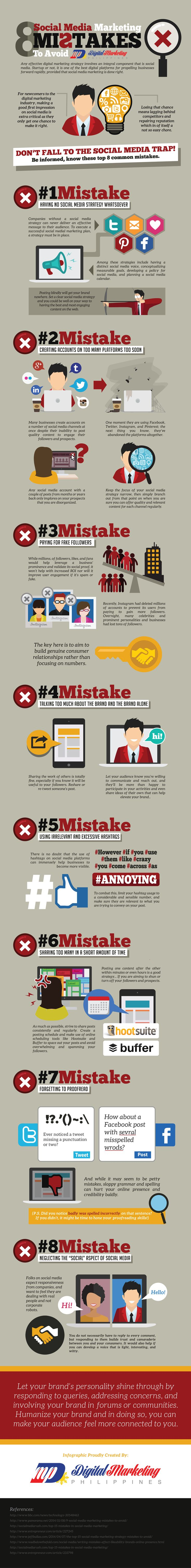 8 Social Media Marketing Mistakes to Avoid (Infographic) #socialmedia