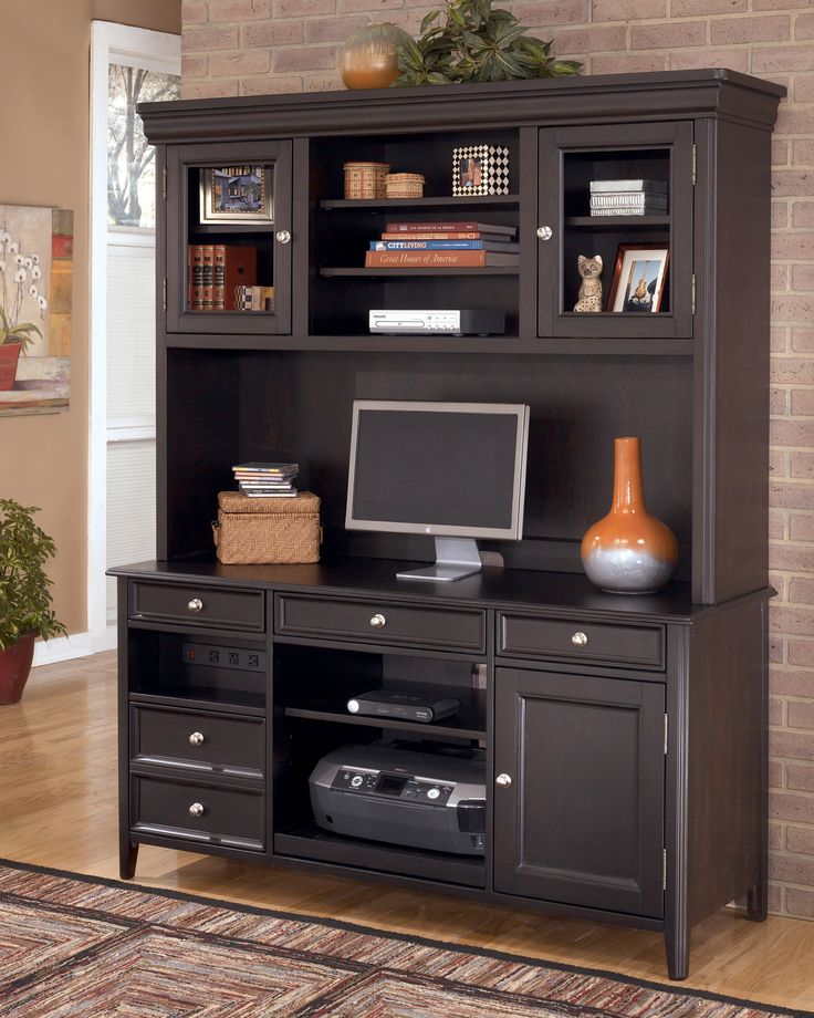 Black Carlyle Credenza and Tall Hutch View 125 best Home Office images on Pinterest   Home office desks  Home  . Tall Office Desk Furniture. Home Design Ideas