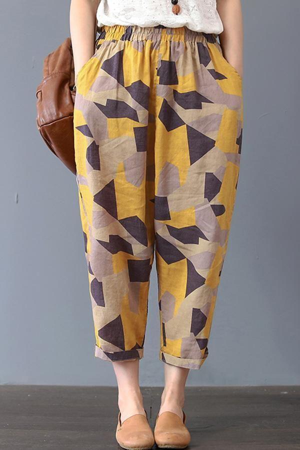 UK Women Vintage Striped Elastic Waist Loose Harem Pants Cropped Capri Trousers