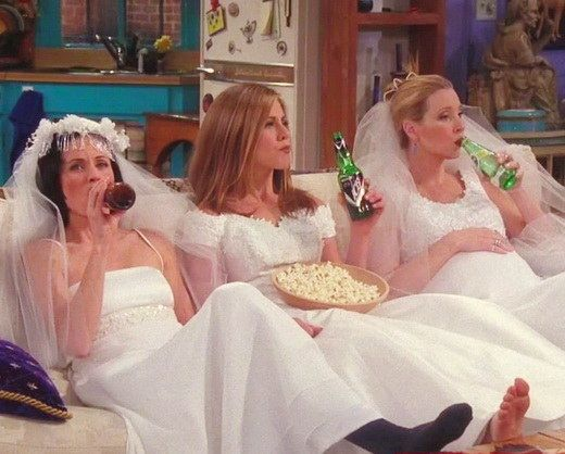 "When Monica, Rachel, and Phoebe all hung out in wedding dresses. | The 27 Most Iconic ""Friends"" Scenes, According To Tumblr:"