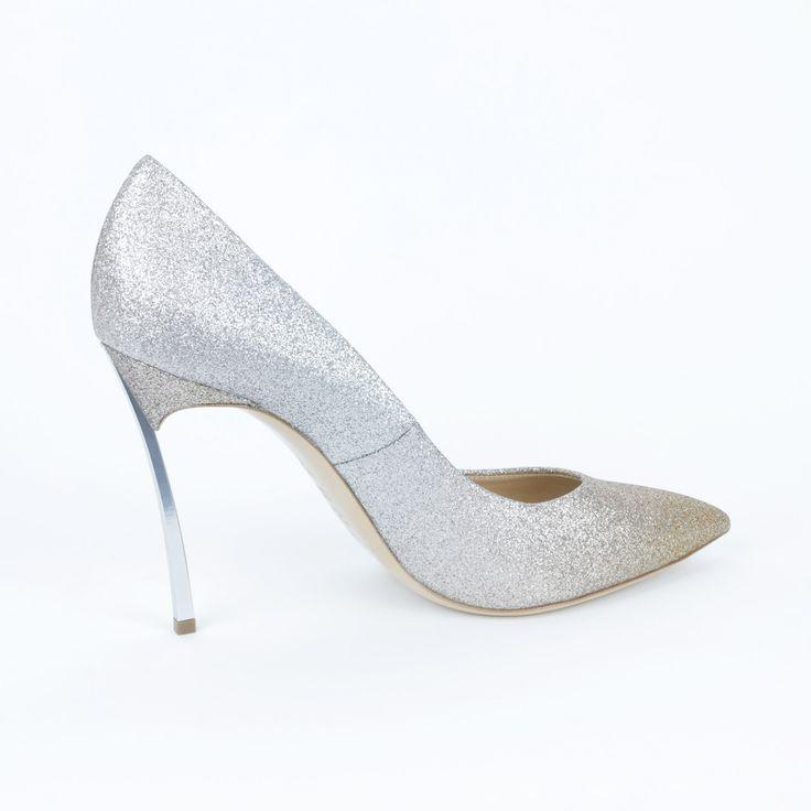 Casadei Apricot/Silver Glitter Silver Heel Pump
