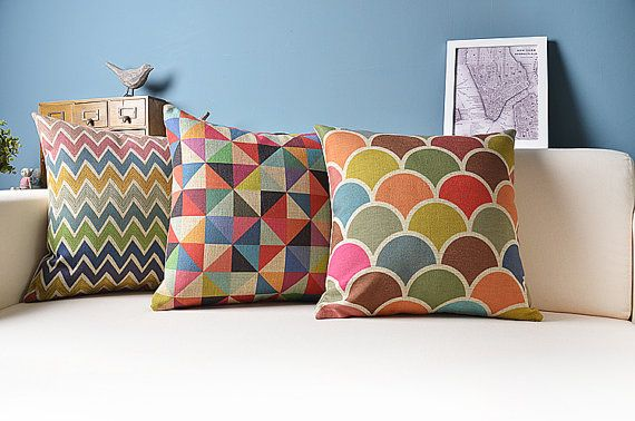 cotton linen Fabrics pillow colorful Rainbow Semicircle zig zag Triangle Pillow Cover pillow pattern cushion cover cushion case pillow case on Etsy, $14.99