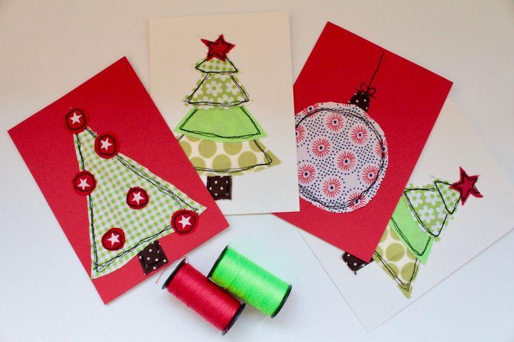 Freihand applizieren. DIY Weihnachtskarten selbstgemacht