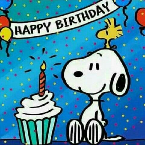 Happy Birthday -Woodstock Sitting on Top of Snoopy's Head With Both Staring at a Cupcake With a Candle on Top