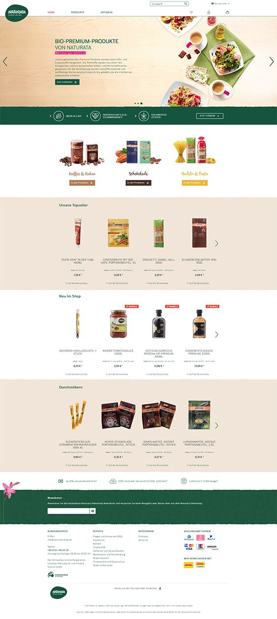 #ShopwareDesign #ShopwareTheme #ShopwareShop #eCommerce #eCommerceSoftware #eCommerceplatform #Onlineshop #Food #Bio #plantbased #vegetables #fruits #naturata