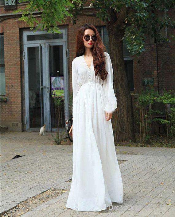 long sleeve white Maxi Dress White chiffon dress by DressOriginal, $65.00