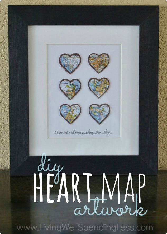 What a fun idea! DIY Heart Map Art - Living Well Spending Less™
