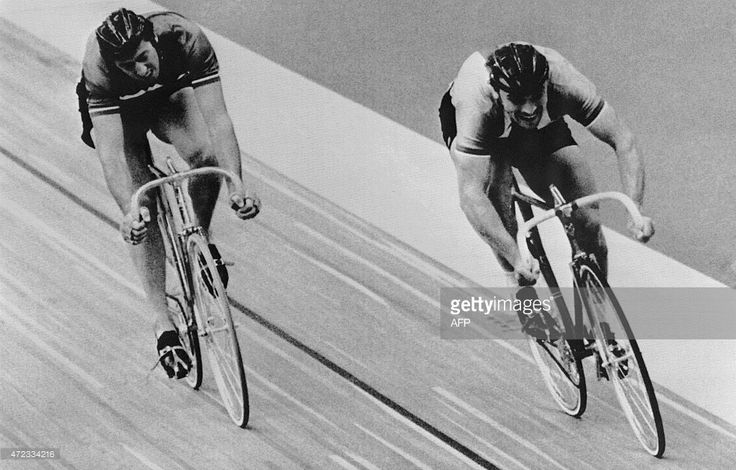 Czechoslovakia's Anton Tkac wins the third round of the sprint final in front of France's Daniel Morelon, 24 July 1976 during the Montreal Olympic Games. Morelon, who won gold medals in Mexico (1968) and Munich (1972), earned his fourth individual Olympic medal after winning the bronze in Tokyo (1964). AFP / EPU PHOTO