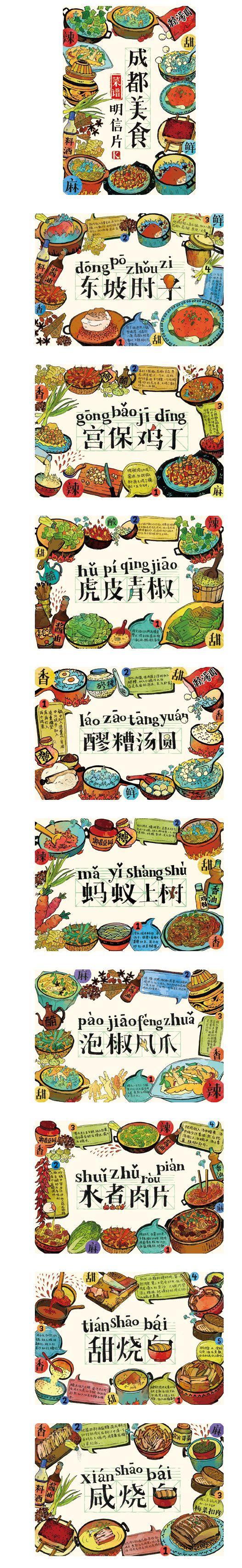 成都美食菜谱明信片(预售)|其他绘画|插...@De-C采集到海报\易拉宝\宣传设计(454图)_花瓣平面