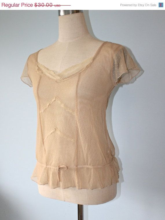 20 Off SALE Vintage SHEER LACE Flapper Blouse by FoxyBritVintage, $24.00: