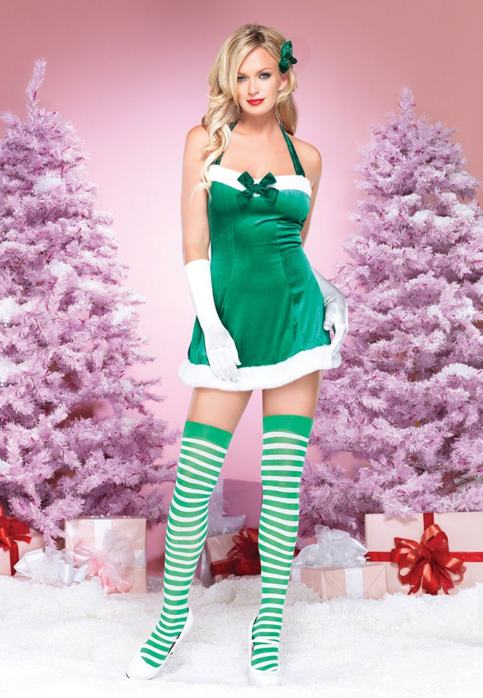 Leg avenue piece peppermint elf costume includes plush trimmed velvet halter dress with matching striped stockings