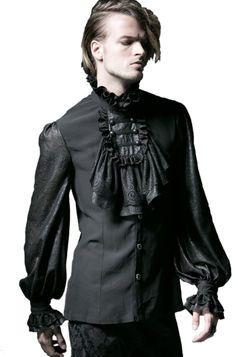 Chemise gothique noire à jabot PUNK RAVE