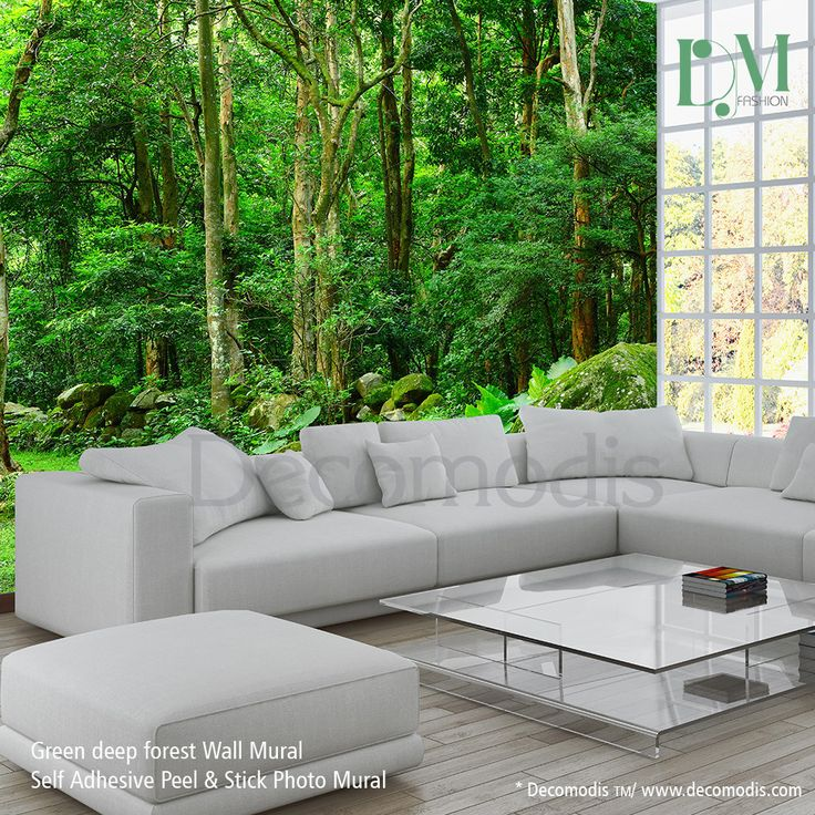 Green Forest Wall Mural, Photo Mural Deep Green Forest Self Adhesive Peel U0026  Stick, Forest Wall Mural